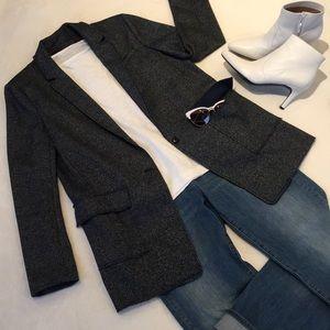 Banana Republic Blazer Navy Tweed Wool Blend